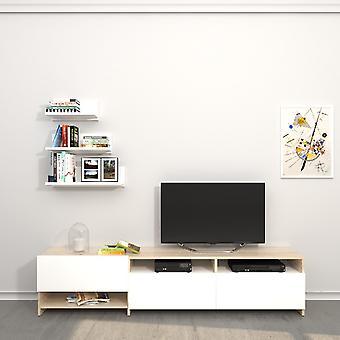 Campbell Tv Port Biały kolor, Sonoma w płyta wiórowa Melamina, L180xP28.4xA40 cm, L35/45/60xP14xA15 cm