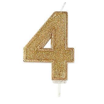 Kultainen kimalteleva numerokynttilä - numero 4 - 70mm
