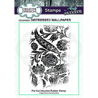 Creative Expressions Andy Skinner Distressed Wallpaper 2.8 in x 5 in Rubber Stamp