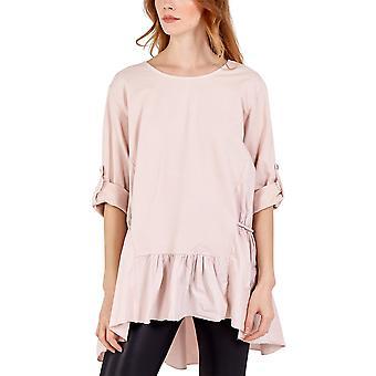 Chloe Frill Hem Button Sleeve Top   Blush   One Size