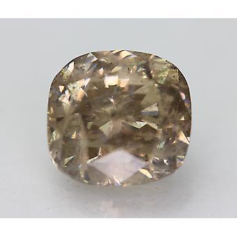 Cert 4.27 Carat Fancy Brown SI2 Cushion Enhanced Natural Diamond 9.16x8.72mm
