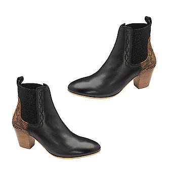 Ravel Moa Snake Pattern Leather Heeled Ankle Boots (Size 8) - Black