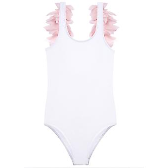 Pretty Pink Petals On White Tank Bathing Suit