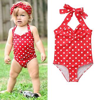 Baby Toddle süße Polka Dot süße Neckholder rot Schnürsenkel Badeanzüge