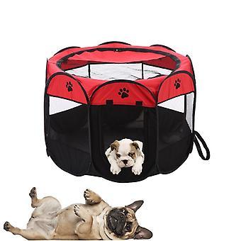 Pat pentru câini cu acoperiș din plasă - 70x70x45 cm - Roșu - Pat pliabil pentru animale