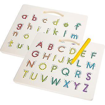 FengChun Magnetische Tafel mit Stift zum Zeichnen, Magnetisches 2 in 1 Alphabet Diagrammtafel Set