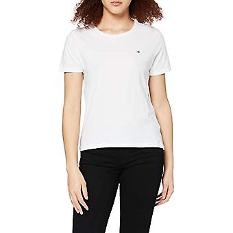 Tommy Jeans TJW Slim Jersey C Neck T-Shirt, Vit, 3XL Dam