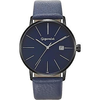 Gigandet Men's Watch Quartz Analog Minimalism Bracelet Black Blue Leather G42-010
