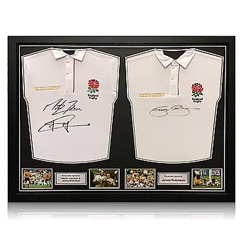 Jonny Wilkinson, Martin Johnson og Jason Robinson underskrev England rugby shirts. Dobbelt ramme