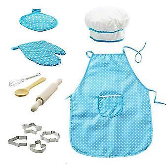 28*23.5*2.8Cm blue chef set children's apron, 11 pieces of children's cooking game kitchen waterproof baking tool set az18954