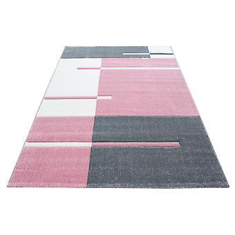 Kort stapeldesign matta kontur klippt mönster Modernt vardagsrum matta Rosa Vit