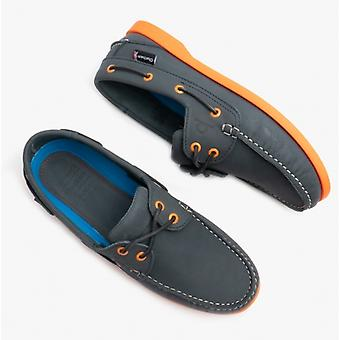 Chatham Compass Ii G2 Mens Leather Boat Shoes Navy/orange