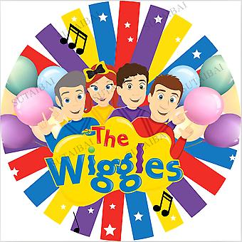 Kids birthday party photography backdrop the wiggles colorful radial strip little stars balloon celebration round background