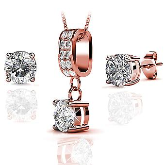 Eira Wen Swarovski Crystal Encrusted Set With Necklace & Earring Studs In Rose Gold Plating Jewellery Set For Women Ladies Anniversary Birthday Mother