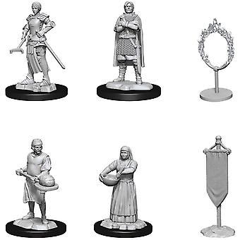 WizKids dype kutt umalte miniatyrer (W12) Byer People- Castle II