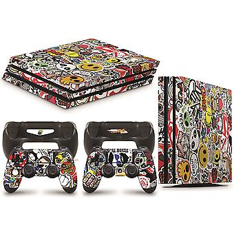 GNG PS4 PRO Console STICKERBOMB Skin Decal Vinal Sticker + 2 Controller Skind Sæt