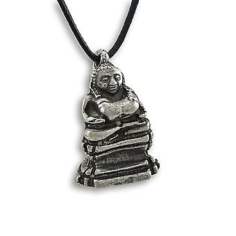 Lead-Free Pewter Laughing Buddha 3-D Pendant