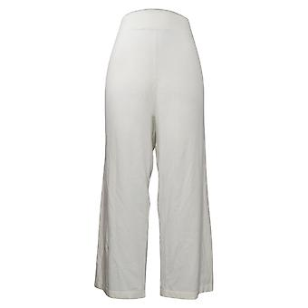 MarlaWynne Women's Pants Plus Cropped Pull On White 655750