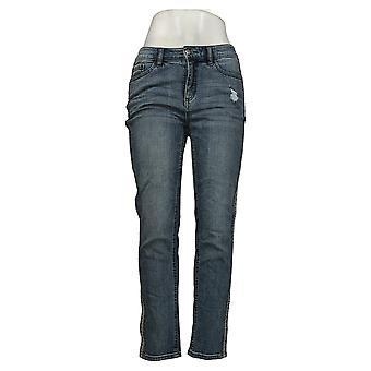 G van Giuliana Women's Jeans Distressed Skinny Side-Stripe Blue 663697