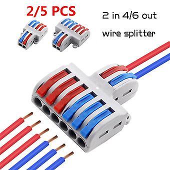 2/5st 2 i 4/6 Uttråd splitter Mini Snabb trådkontakt Universal Kabelkontakt Push-in Ledare