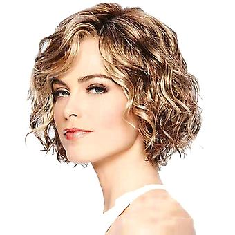 Fashion Lady Short Curly Hair Perruque Moelleux Mixed Color Short Curly Hair