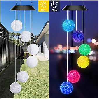 Color Changing Solar Led Spiral Chime For Garden Waterproof Romantic Outdoor Patio Decoration Garden With Hook