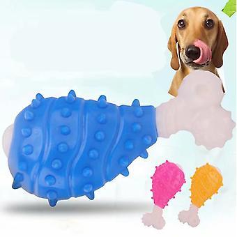 Indestructible Dog Toy, Dog Chew Bone Squeak Toys Resistant Rubber Toothbrush Medium And Large Dog Toys - Blue