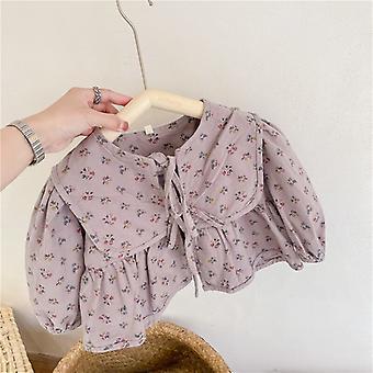 2021 בגדי סתיו לילדים חדשים בנות פרחוניות מעיל צעיף צעיף קרדיגן ילדים מעילים