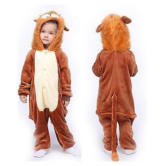 Unisex Child Pajama Plush Onesie One Piece Animal Cosplay Costume Halloween Christmas Gift(brown)