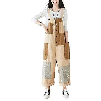 Woman Loose Overalls Patch Wide-leg Pants