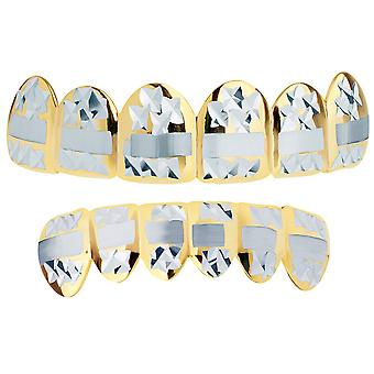 Gold Grillz - one size fits all - Diamond cut III - SET