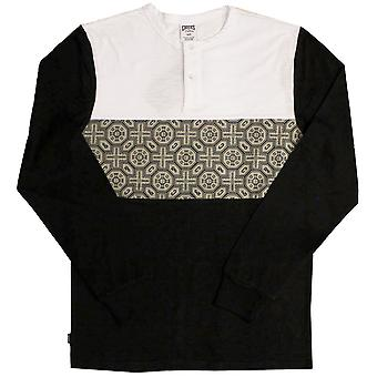 Crooks & Castles Pagoda Long Sleeve Henley T-shirt Black