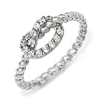 925 Sterling Silver Rhodium plated CZ Cubic Zirconia Simulated Diamond Knot Ring Jewelry Gifts for Women - Ring Size: 6