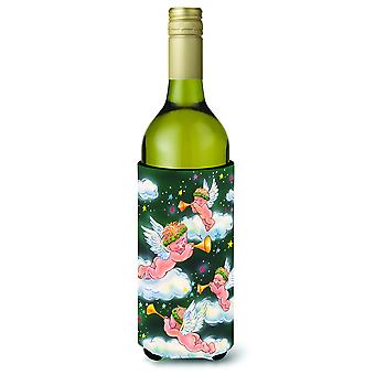 Angels on Green Wine Bottle Beverage Insulator Hugger