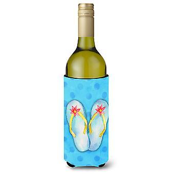 Flip Flops blau Polkadot Wein Flasche Beverge Isolator Hugger