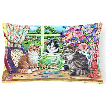 Cats Just Looking in the fish bowl Fabric Decorative Pillow