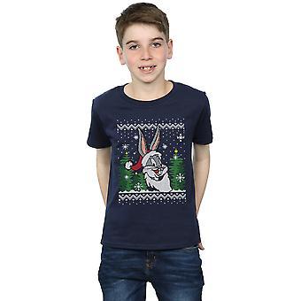 Looney Tunes Boys Bugs Bunny Christmas Fair Isle T-Shirt
