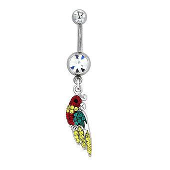 Piercing papegaai in zilver 925 versierd met Swarovski kristallen