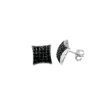 Sterling 925 Silver earrings - 5 x 5 black