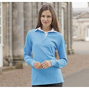Front Row Ladies Long Sleeve Plain Cotton Rugby Shirt