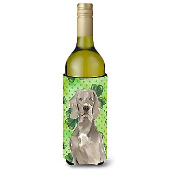 Shamrocks Weimaraner Wine Bottle Beverge Insulator Hugger
