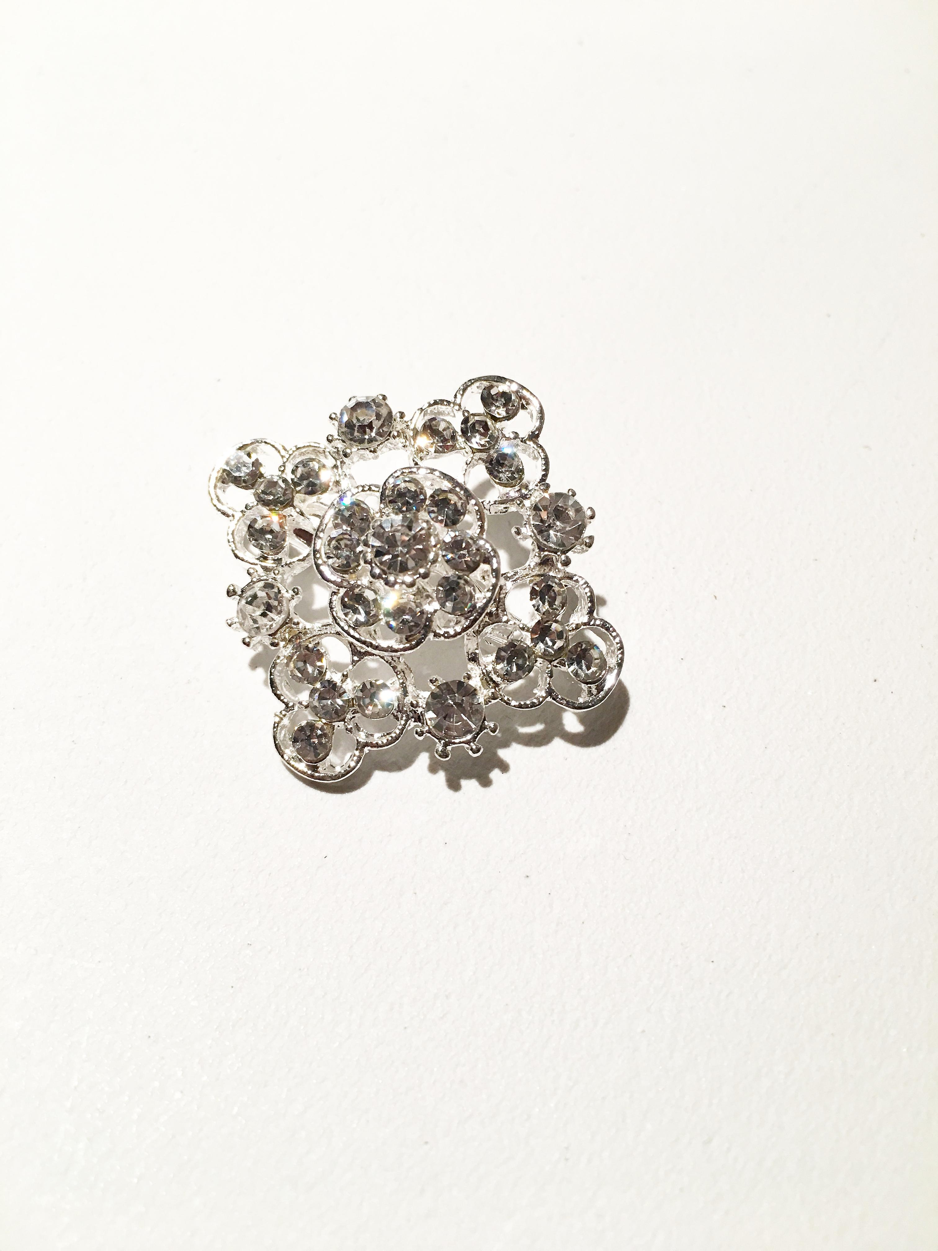 Silver Square Flower Style Brooch