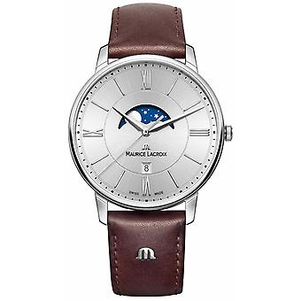 Maurice Lacroix Mens Eliros Moonphase Brown Leather Strap Silver Dial EL1108-SS001-110-1 Watch