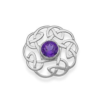 Sterling Silver Traditional Celtic Eternity Knotwork Design Brooch - Amethyst Stone