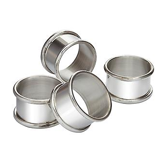 Four Pewter Napkin Ring Set
