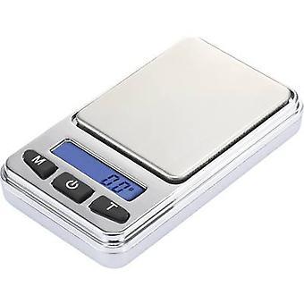 Basetech SJS-60008 Taskuvaaka painoalueen 200 g luettavuuden 0,01 g akku-käyttöinen hopea