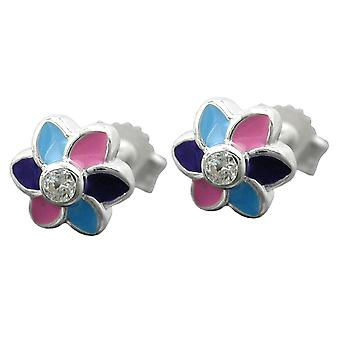 Ear studs earring girl flower colorful cubic zirconia child jewelry 925 sterling silver