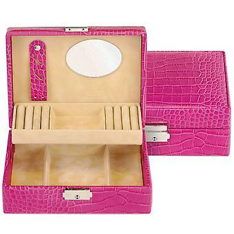Sieraden doos sieraden doos roze Sacher lederen Croc spiegel ring bar