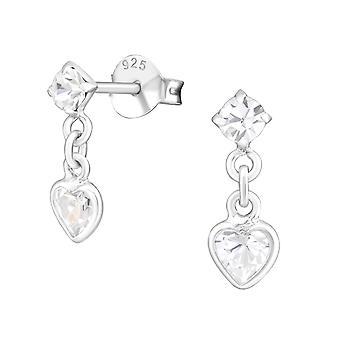 Сердце - 925 стерлингового серебра кубического циркония уха шпильки - W21724x
