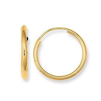 10 k Gelb Gold glänzend endlose Runden Creolen
